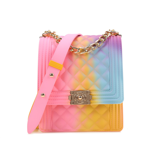 2020 bestseller Wholesale fashion PVC Women Colorful Candy Handbag Shoulder Bag Mini rainbow Jelly Bag hot sellers 1 buyer