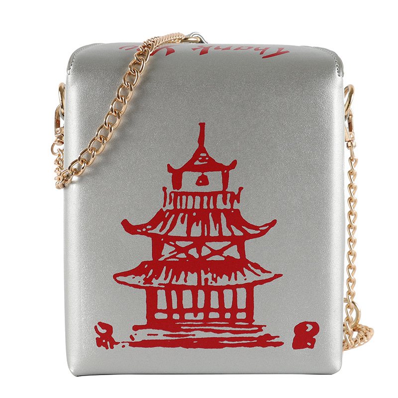 Chinese Takeout Box Designer Handbags Stylish Crossbody Bag Pu Leather Chain Bag Women Purses and Handbags