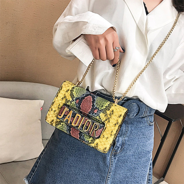 High quality snakeskin pattern lady crossbody clutch bag new design pu shoulder bags women handbags 2019